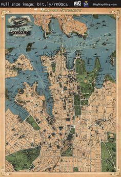 Robinson's #map of #Sydney, #Australia (1922) — http://www.bigmapblog.com/2011/robinsons-aeroplane-map-of-sydney-1922/