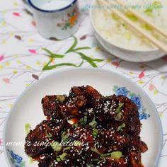 Dakgangjeong (Sweet Crispy Chicken) Crispy Chicken, Muffin, Pizza, Cooking Recipes, Banana, Beef, Kitchen, Food, Chicken Flatbread