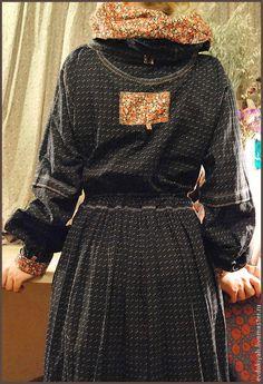 Купить ОДЕЖДА ДЛЯ СВОБОДНЫХ НАТУР - тёмно-серый, мелкая клеточка, длинное платье, хлопок