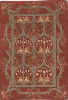 Rambling Rose, Burgundy, hand-knotted pure Tibetan Himalayan wool carpet.  View the entire Craftsman Collection at  www.tigerrug.net
