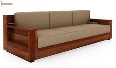 Buy Marriott 3 Seater Wooden Sofa (Honey Finish) Online in India - Wooden Street Sofa Bed Design, Living Room Sofa Design, Sofa Furniture, Living Room Furniture, Furniture Design, Cheap Furniture, Wooden Sofa Set Designs, Sofa Layout, Muebles Living
