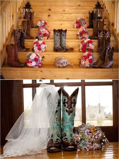 rustic country wedding cowboy boots / http://www.deerpearlflowers.com/cowgirl-boots-fall-wedding-ideas/