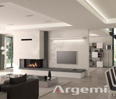 Tags: living room with fireplace decor, living room with fireplace and .-Tags: wohnzimmer mit kamin dekor, wohnzimmer mit kamin und bücherregal … Tags: living room with fireplace decor, living room with fireplace and bookcase … - Living Room Decor Fireplace, Fireplace Tv Wall, Modern Fireplace, Fireplace Design, Fireplace Ideas, Stone Fireplaces, Living Room Modern, Living Room Interior, Home Living Room