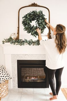 Our Marble Fireplace Make Over A Mix of Min shares a her marble herringbone fireplace makeover with products sourced from Home Depot. Brick Fireplace Makeover, Old Fireplace, White Fireplace, Fireplace Remodel, Fireplace Ideas, Simple Fireplace, Shiplap Fireplace, Fireplace Design, Herringbone Fireplace