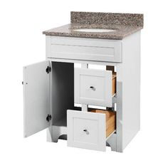 """Check out the Foremost WRWA2421D Worthington 24"""" White Bathroom Vanity priced at $359.10 at Homeclick.com.; does not include top"""