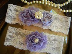 Wedding Garter - Ivory Lace Garter Set - Shabby Chic - Bridal Garter - Vintage Garter - Light Purple - Rhinestone and Pearl Wedding Garter. $26.00, via Etsy.