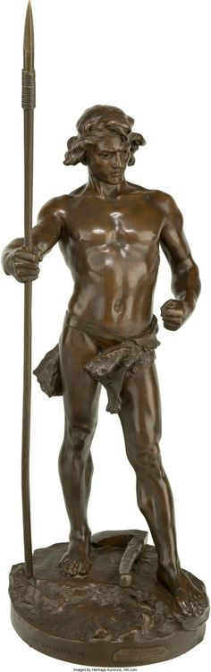 Leo Roussel (French, David Bronze with brown patina 40 inches cm) high Inscribed on base with Pineado foundry seal: Leon Roussel. Bronze Sculpture, Sculpture Art, Garden Sculpture, Frozen In Time, Anatomy, Base, Statue, Antiques, Outdoor Decor