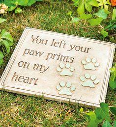Cast Resin Paw Prints Garden Plaque