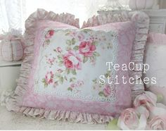 Lovely Pillow - shabby chic, roses, ruffles, and lace