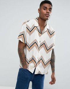 ASOS - Camicia in viscosa oversize con righe a zig-zag e rever bianca