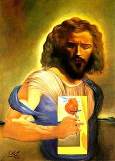 The Sacred Heart of Jesus - Dali Salvador L'art Salvador Dali, Salvador Dali Paintings, Catholic Art, Religious Art, Religious Paintings, Roman Catholic, Spanish Artists, Art For Art Sake, Visionary Art