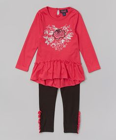 Love this Pink Rose Appliqué Tunic & Leggings - Girls by Unik on #zulily! #zulilyfinds