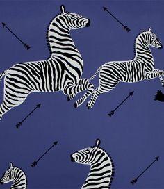 Scalamandre zebras wallpaper - denim