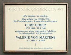 Berliner Gedenktafel, Curt Goetz, Fredericiastraße 1, Berlin-Westend, Deutschland