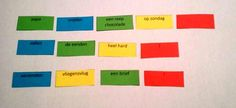 """Spel zinnen: """"Wie doet wat wanneer?""""   (Voorbeeldzinnen: een gewone zin met een punt, een vraagzin, een bevelzin.) Fun Learning, Spelling, Chart, Logo, School, Logos, Logo Type, Schools"""