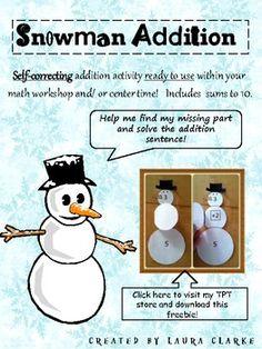 Freebie Snowman Addition: Winter Themed Math Center TpT