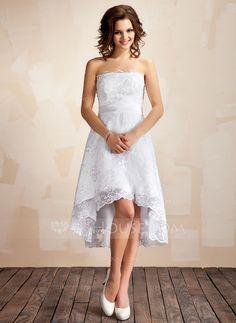 Wedding Dresses - $155.99 - A-Line/Princess Strapless Asymmetrical Satin Lace Wedding Dress (002001414) http://jjshouse.com/A-Line-Princess-Strapless-Asymmetrical-Satin-Lace-Wedding-Dress-002001414-g1414