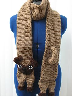 Adult Size Pug Scarf Crochet Pattern by DonnasCrochetDesigns