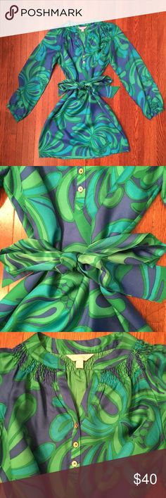 Lilly Pulitzer silk dress with sash Beautiful silk twill. Excellent condition. Lilly Pulitzer Dresses