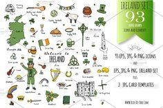 93 Ireland color hand drawn symbols! by Rio-de-Oro.com on @creativemarket