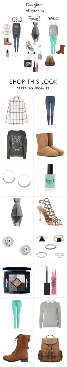 """""""A Daughter of Athena"""" by a-fangirl-mrc on Polyvore featuring H&M, 7 For All Mankind, WearAll, UGG Australia, Lauren B. Beauty, Schutz, Christian Dior, Maybelline, Dorothy Perkins and Wild Diva"""