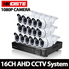 Home AHD 16CH 1080P HDMI DVR 3000TVL 2.0MP HD Outdoor Security Camera System 16 Channel CCTV Surveillance DVR Kit AHD Camera Set #Affiliate