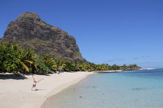 """""""Girl Doing 'A Cartwheel' On The Beach.""""       Le Morne Mountain, The Island of Mauritius.  (N.B: This Mountain is a World Heritage Site.)"""