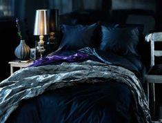 Johnny Lowe posted dark sexy bedroom LOVE to his -For the bedroom- postboard via the Juxtapost bookmarklet. Blue Bedding, Blue Bedroom, Dream Bedroom, Master Bedroom, Blue Rooms, Bedroom Colors, Diy Bedroom Decor, Bedroom Ideas, Jewel Tone Room