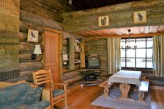 Traditional, ski-in ski-out log cabin next to family ski slope in beautiful Pyhä resort. Cottage Interiors, Loft, Cabin, Traditional, Bed, Furniture, Home Decor, Decoration Home, Stream Bed