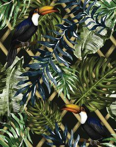 Wild Garden Wallpaper Dark by Charlotte Jade - The Joyful Home Company Garden Wallpaper, Bold Wallpaper, Luxury Wallpaper, Unique Wallpaper, Inspiration Wand, Willow Branches, Elements Of Nature, Tropical, Garden Trellis