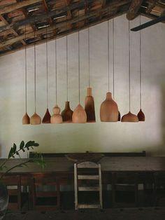 holz lampenschirm pendelleuchten esszimmer