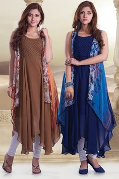 Brownish #beige multicolour/ink #blue multicolour georgette ravishing #kurti -WKR284
