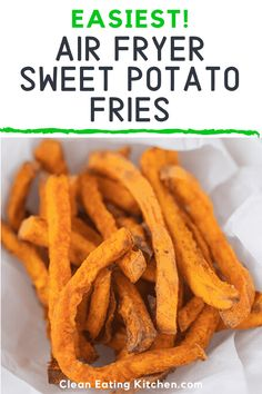 This air fryer sweet potato fries recipe is going to be your new favorite side dish. The crispy fries are gluten-free paleo and vegan. I have a secret tip for making the fries uniformly crisp and amazing! Air Fryer Sweet Potato Fries, Homemade Sweet Potato Fries, Sweet Potato Cinnamon, Sweet Potato Recipes, Whole Food Recipes, Vegan Recipes, Candida Recipes, Top Recipes, Vegan Meals