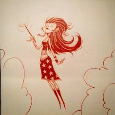 Floating red #witch. #inktober #inktober2015 #inktober2go #ink #sketchbook #joeolson #halloween by jobus