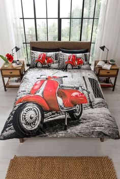 Scooter Retro  Lambretta in Red Quilt Duvet Cover & Pillowcase  Bedding Bed Set