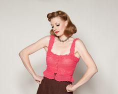 Vintage 1970s Crocheted Top Hot Pink Handmade Shirt by AlexSandras