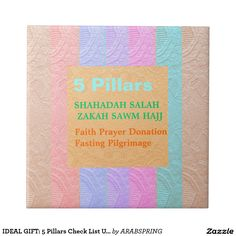 IDEAL GIFT: 5 Pillars Check List U like HAVE Small Square Tile