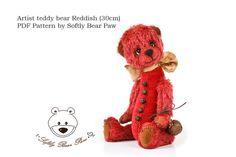 Artist Teddy Bear Pattern by SoftlyBearPaw Reddish 30cm ePattern PDF