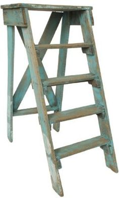 Vintage Blue Wood Ladder. This would be GREAT on my old ladder I scored yesterday!