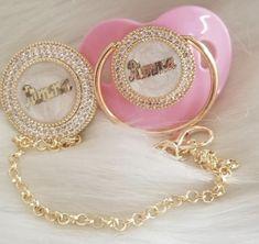 Pink Pearl Corazones rumanos de Cristal Bling Maniquí Clip chupete de bebé Correa chupete