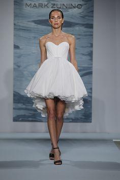 Short dress with chiffon full skirt and illusion back