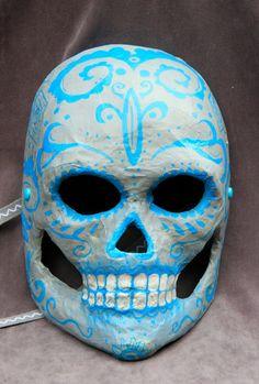 Blue on Grey Dia de los Muertos mask by BlueGooseStudios on Etsy, $25.00