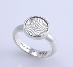 sterling silver signet ring with a single fingerprint and one diamond flush set Cool proposal ring! Fingerprint Wedding, Fingerprint Jewelry, Ring Verlobung, Signet Ring, Best Anniversary Gifts, Proposal Ring, Handmade Rings, Wedding Rings For Women, Sculpture