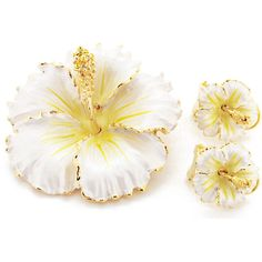 White Hawaiian Hibiscus Swarovski Crystal Flower Pin Brooch And... (€23) ❤ liked on Polyvore featuring jewelry, hawaiian jewelry, white stone jewelry, stone jewelry, white jewelry and swarovski crystal jewelry