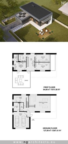 modern house Star designed by NG Architects www. Sims House Plans, Small House Plans, Contemporary House Plans, Modern House Design, House Star, Casas Containers, Villa Plan, Building A Container Home, House Blueprints