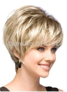 Natural Blonde Straight Lambskin Short Wig For Woman free shipping