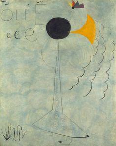 "Miro Danseuse espagnole (""olée"") (Spanish Dancer (""olée""))    1924  Oil and hand-written inscription on canvas  92 x 73 cm / 36 1⁄5 x 28 7⁄10"""