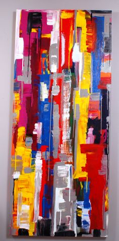 "SOLD..  ""Skyscrapers""...acrylic on canvas...84"" x 36"" x 3""...©Mac Worthington, artist For further information on this piece or to discuss a custom design please call 614 