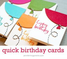 Quick Birthday Balloon Card Video by Jennifer McGuire Ink. Love JM! Love the techniques here and the glitter spray!