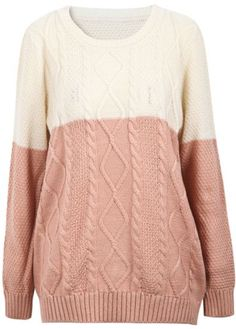 Beige Red Long Sleeve Diamond Patterned Knit Sweater  - $25